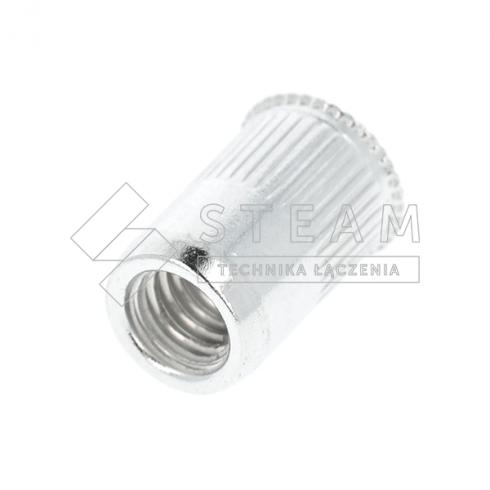 Nitonakrętka otwarta – kołnierz mini stożek, radełkowane - aluminium T-FTR-Z